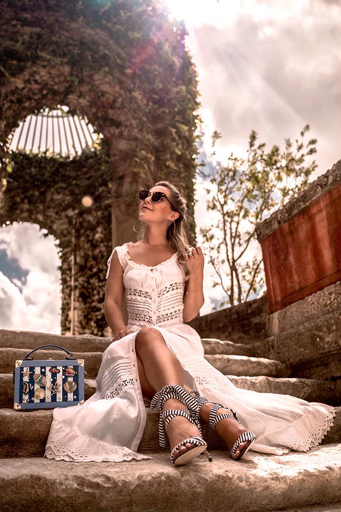 White summer dress with nautical accessories worn by Christie Ferrari in vizacaya gardens in miami, florida.