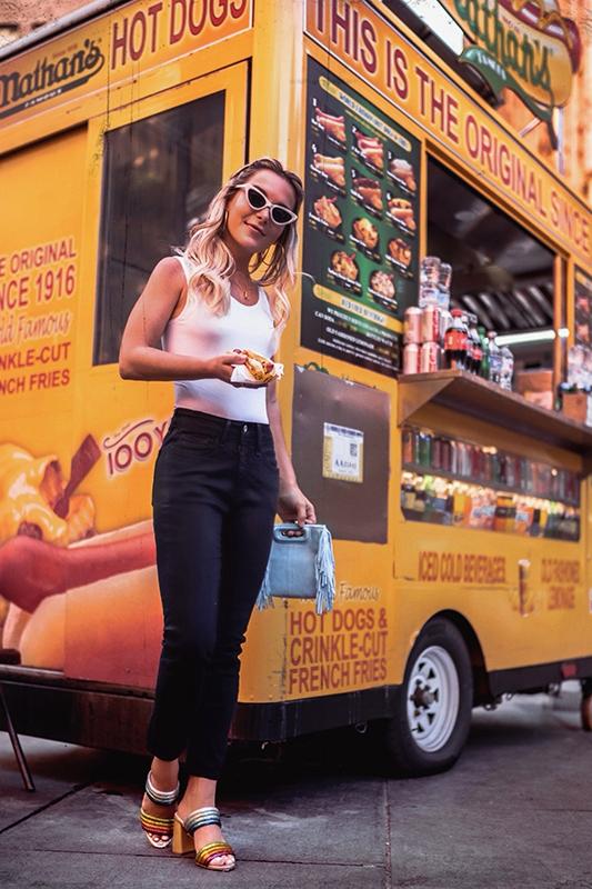 Christie Ferrari wears Alice + Olivia Lori Double Strap Rainbow Sandals in New York for Hot Shoe Alert Review Series in June 2018.