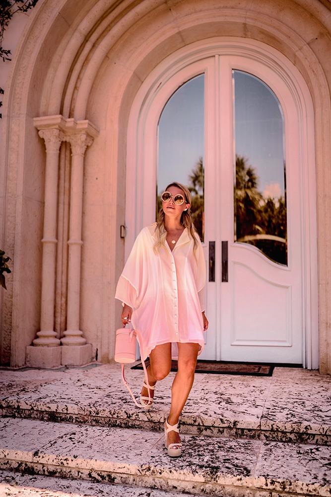 Christie Ferrari wears TDE - The Daily Edited - Mini Cylinder Bag in primrose for Hot Bag Alert, bag review series.