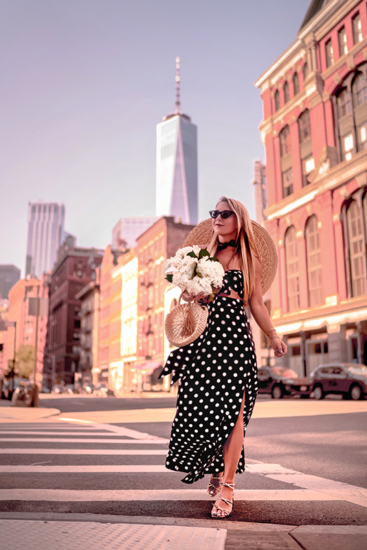 Christie Ferrari wears affordable polka dot matching set of a skirt and a top in New York City.