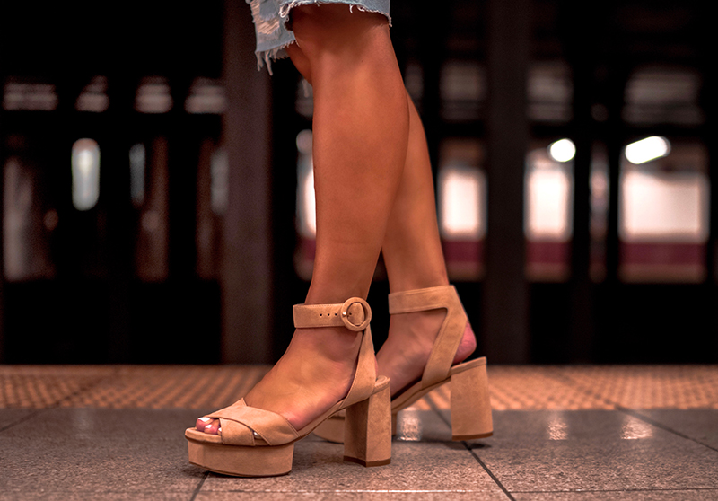 Christie Ferrari wears Stuart Weitzman Carmina Platform Sandals for Hot Shoe Alert, weekly shoe review feature in New York City.