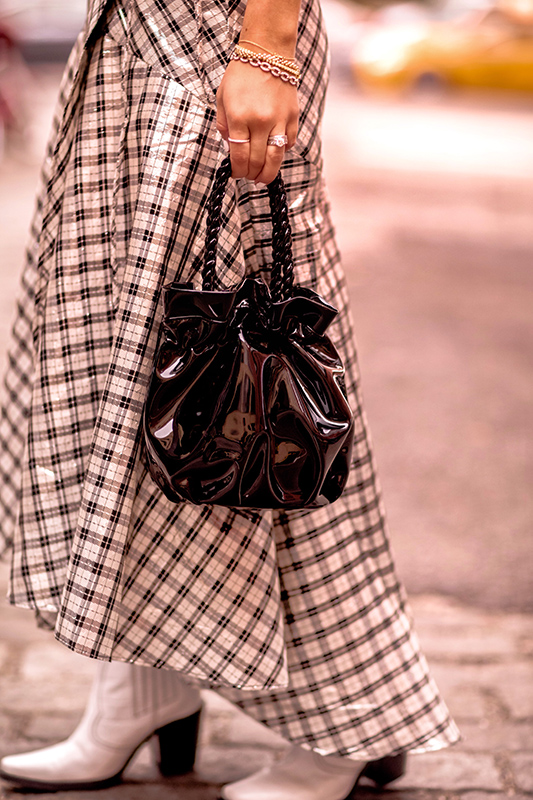 Christie Ferrari reviews Staud Grace Bag in black patent leather for hot bag alert.