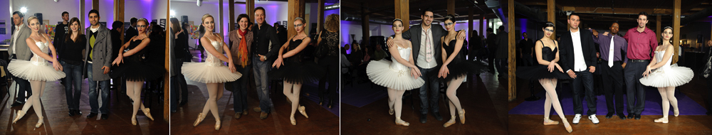 ballerinas with guests at twist gallery in toronto