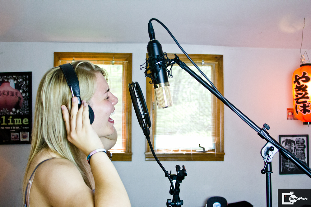 Liz tracking her vocals