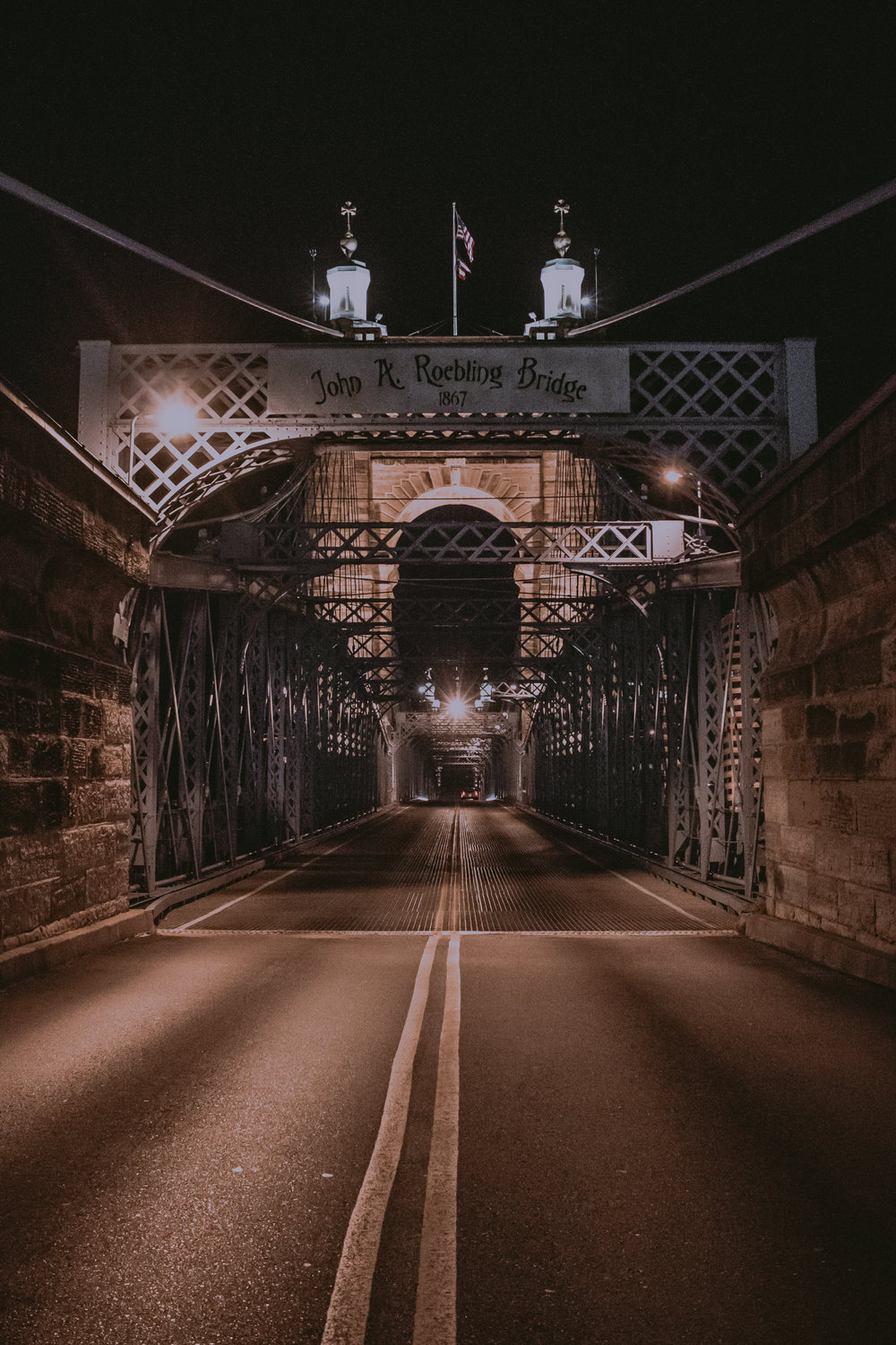 John A. Roebling Bridge in Cincinnati, Ohio. I had a fun and difficult time dodging cars to get this Shot.