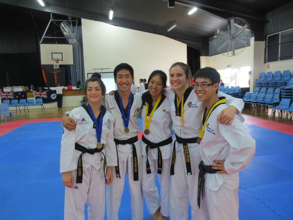 Our gold and bronze black belt poomsae teams at the 2013 Australian Uni Games