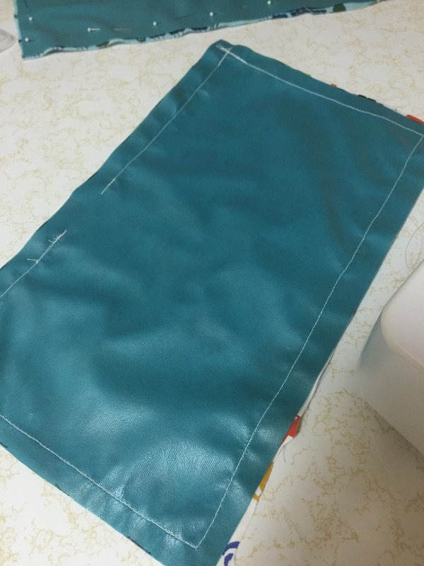 *Notice the gap in stitching. This is where you will eventually flip the sak inside out.