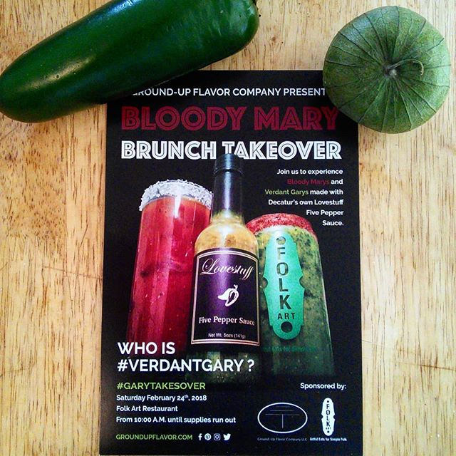 Good day, all. We trust that life has been well? We wanted to let you all know about our partnering with @artfuleats for our first Bloody Mary Brunch takeover. Join us this Saturday the 24th of February at Folk Art in Inman Park. We will be making Bloody Mary's with Lovestuff Five Pepper Sauce and our Verdant Gary's which is our green Bloody Mary mix. They  pair well with Folk Arts already stellar brunch offerings. We hope to see you there. #garytakesover #verdantgary #bloodymary #greenbloodymary #brunch #tastetasticvoyage #lovestufffivepeppersauce #flavorfirst #folkartatlanta #folkartrestaurant #hotsauce #hotsauceoneverything #localproducts #localhotsauce #inmanpark #atlanta #groundupflavorco #atlfoodie #atl #collaboration #teamwork