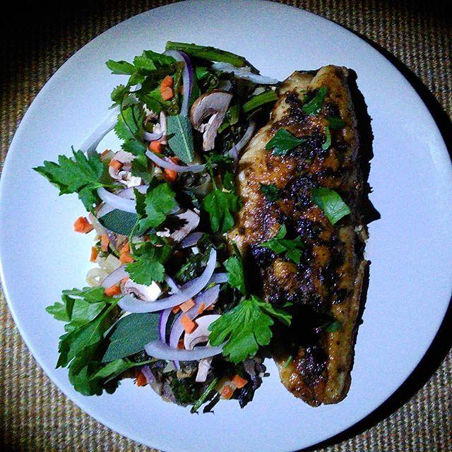 Hello, All, Happy Sunday. Catfish Meuniere-Lovestuff beurre noisette/fried sage Braised turnip greens/Bella mushrooms/carrot/white and red onion/fish sauce  #groundupflavorco #lovestufffivepeppersauce #flavorfirst #tastetasticvoyage #atlanta #decatur #decaturga #food #instafood #honestcooking #homecooking #culinary #foodporn #catfish #carrots #mushrooms #butter #foodeurs #ArtonaPlate #honestcuisine #chefsalert #fish