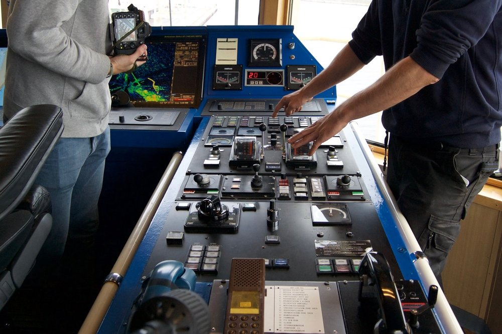Gathering user insights on arctic navigation on our site visit to an icebreaker in Sweden.