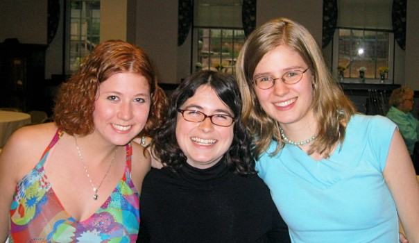 Youth alumni Megan Sadowski Simmons and Claire Asbury Lennox with former Youth Director, Amy Bugg Burke, at Senior Banquet 2006.