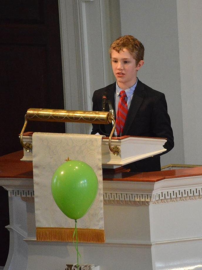 Carter Hales delivering his sermon