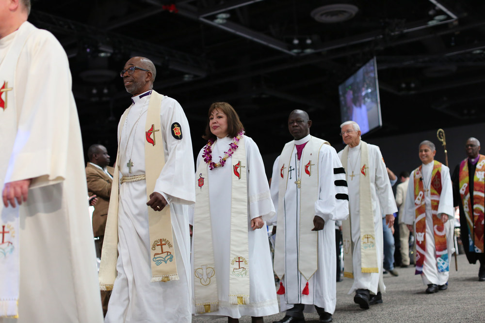 United Methodist Bishops from all over the world lead the processional.  Photo credit: Kathleen Barry, UMNS