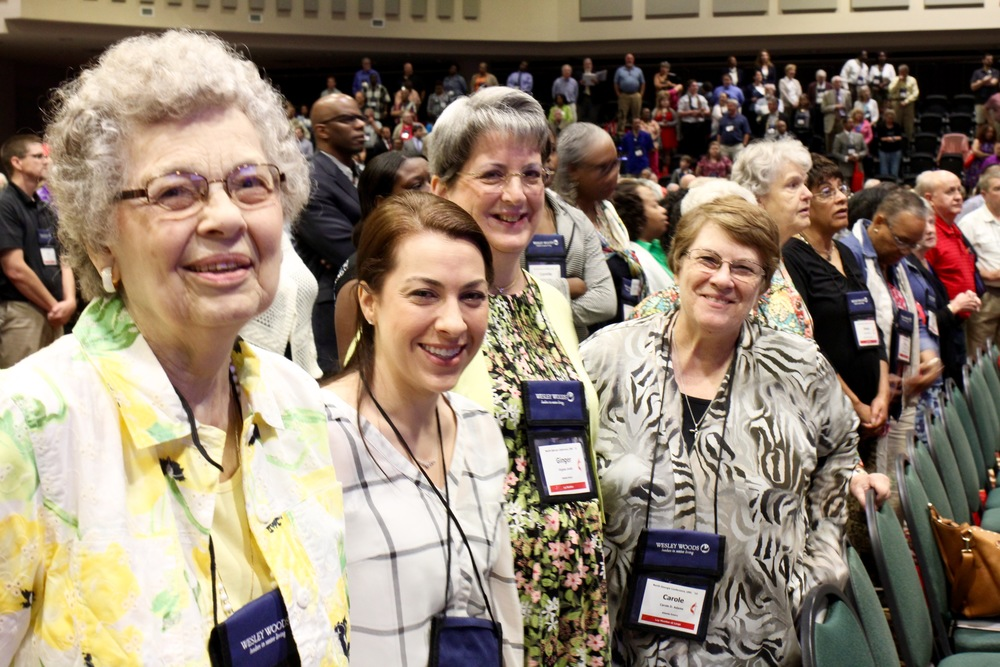 From left to right, some of our lay delegates: Roberta Shoup, Dena Mellick, Ginger Smith, Carole Adams. Photo credit: Joseph McBrayer.