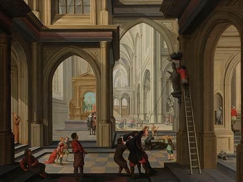 Beeldenstorm in een kerk, 1630, by Dirck van Delen