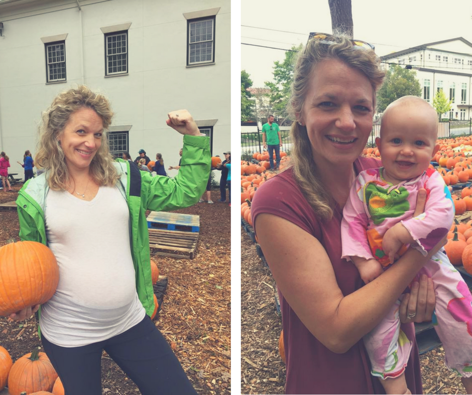 Cynthia Shepherd with baby Bess in 2015 & 2016.