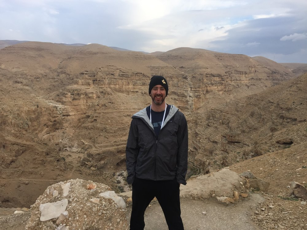 Brent hiking the Wadi Qelt.