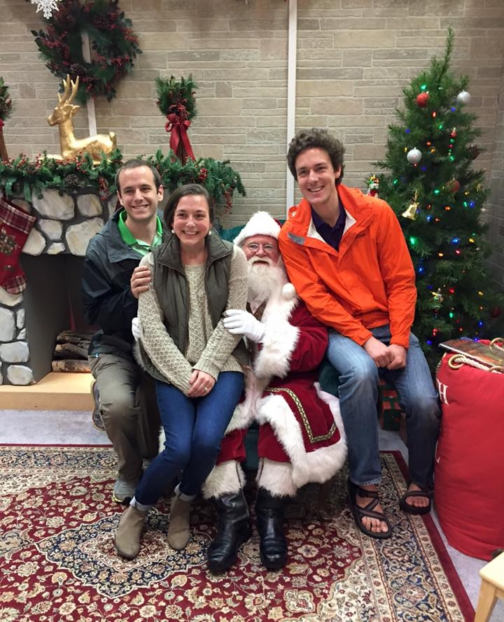 Posing with Mr. Claus and his sister and brother-in-law