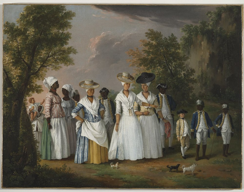 "Agostino Brunias, ""Free Women of Color with Their Children and Servants in a Landscape"", ca. 1770-1794, Brooklyn Museum of Art, Gift of Mrs. Carll H. de Silver, in memory of her husband, by exchange gift of George S. Hellman, by exchange. Digital photo courtesy of Brooklyn Museum."