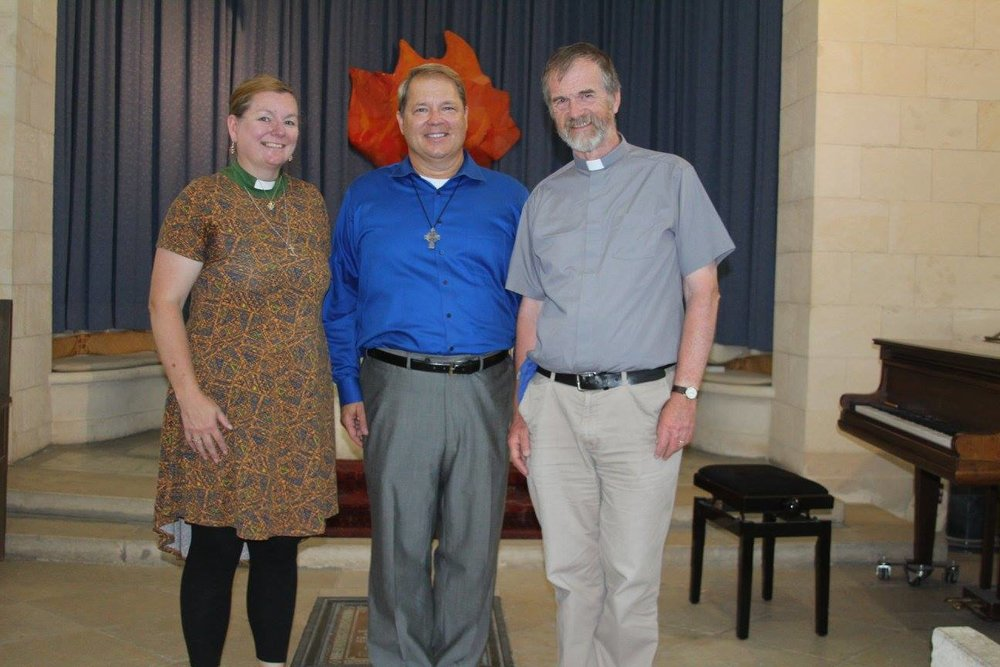 Rev. Kristen Brown, J.R. Atkins, & Rev. John Howard at the Church of Scotland, Jerusalem