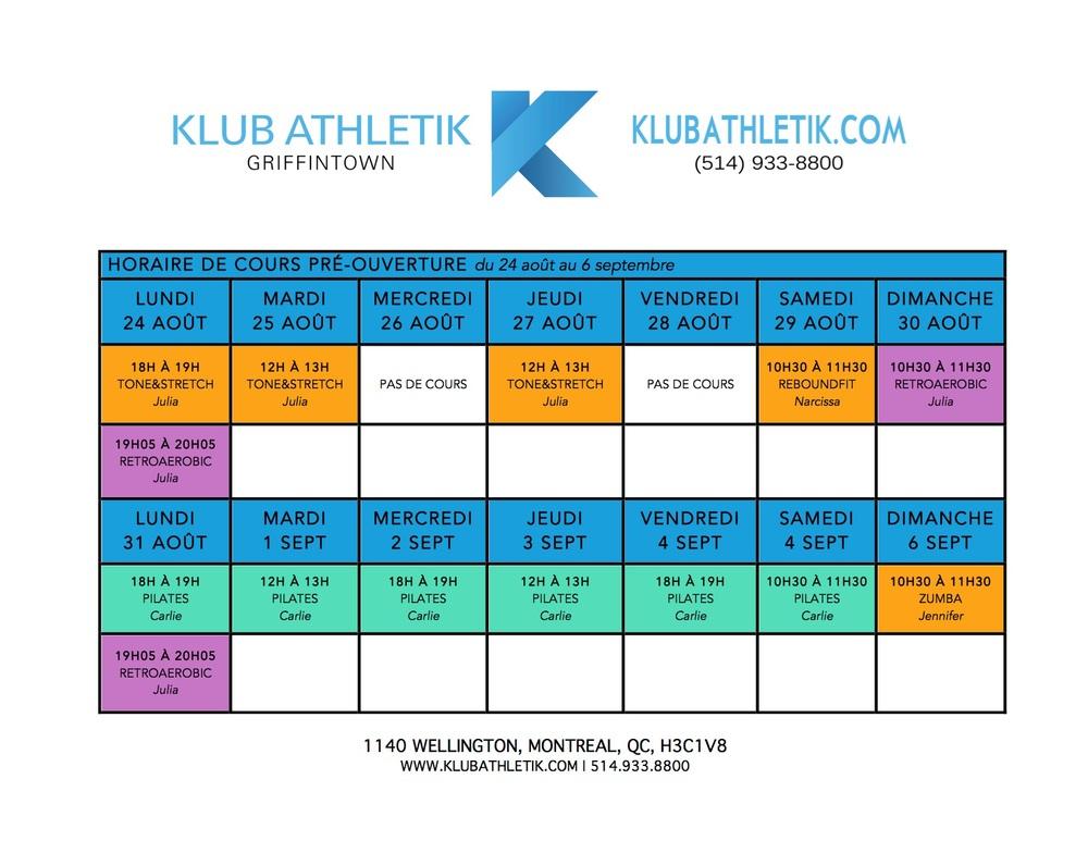 pre-opening schedule