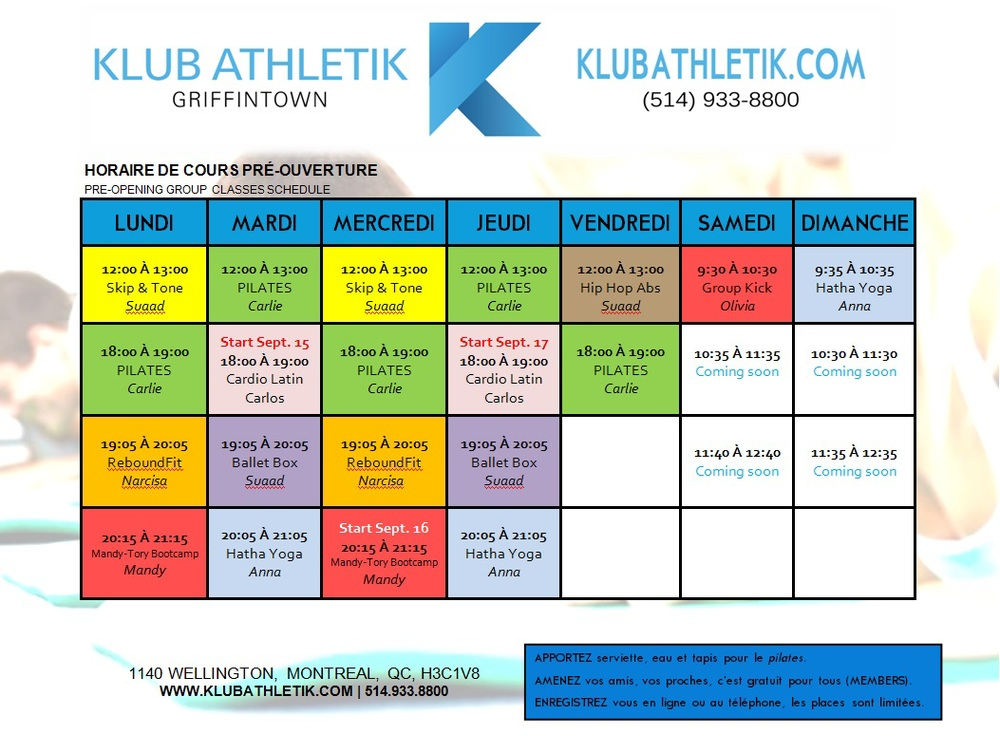 klub athletik group exercise classes schedule