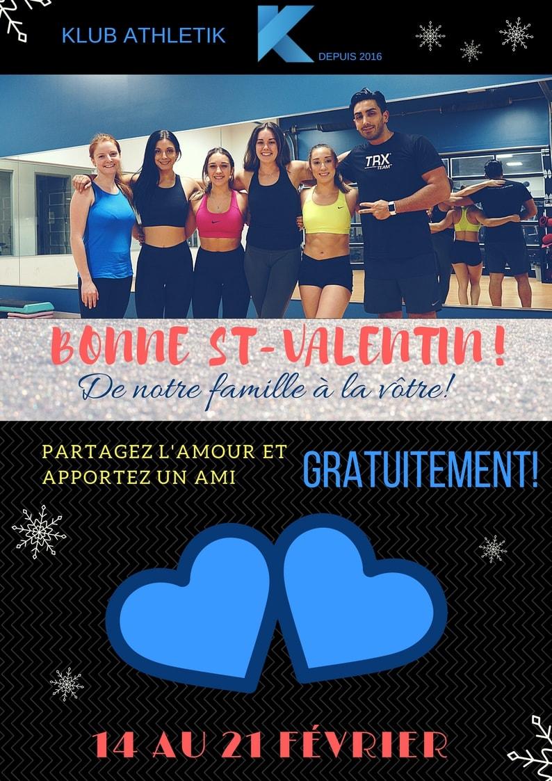 Saint Valentine le 14 février accès gratuit Klub Athletik Griffintown MontrealGYMNASE