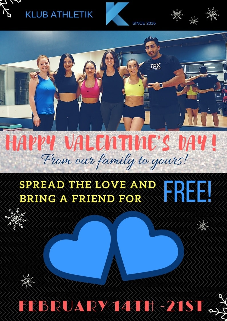 Valentines day February 14 free access to Klub Athletik Griffintown Montreal gym