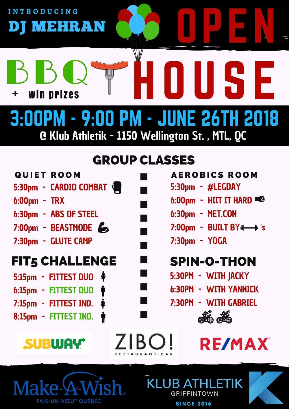 Open House BBQ with DJ Mehran Klub Athletik Montreal Gym