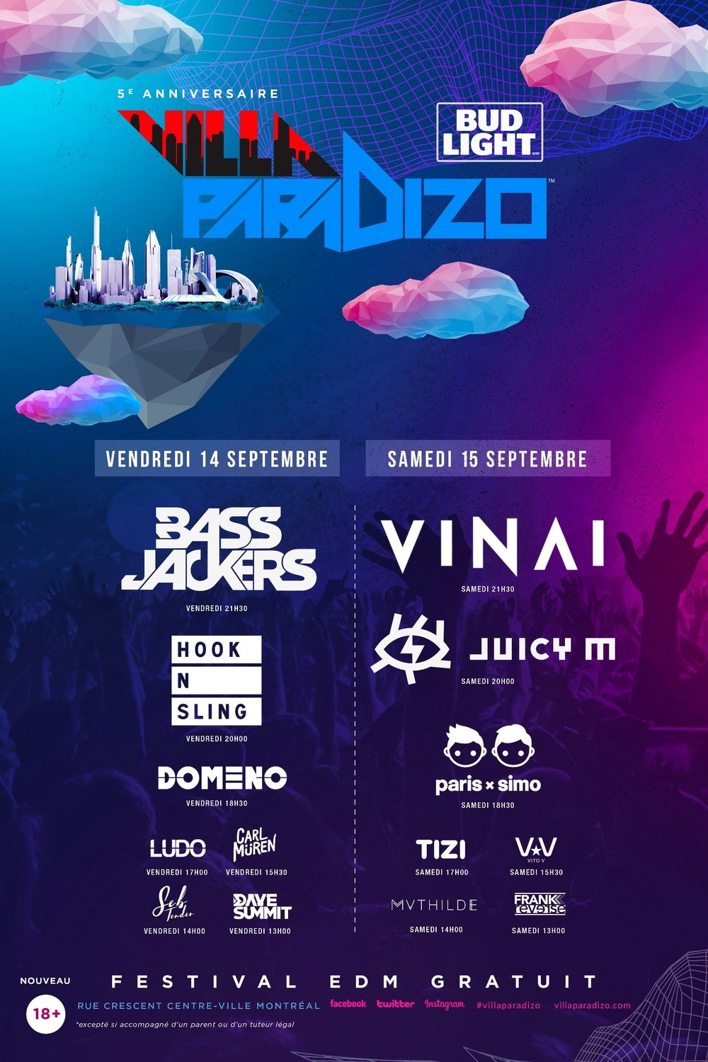 villa paradizo september 14 and 15 montreal cresent djs