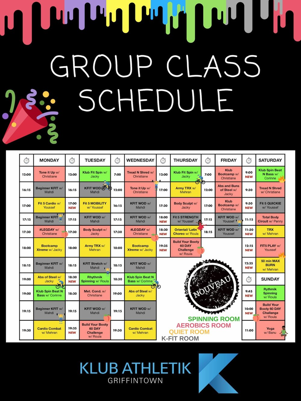 group exercise schedule of klub athletik griffintown gym