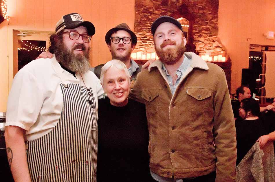 Ronni Lundy- Southern Food Writer with Jed Portman Assistant Editor of Garden & Gun Magazine, Chef Travis Milton and Chef Elliott Moss.