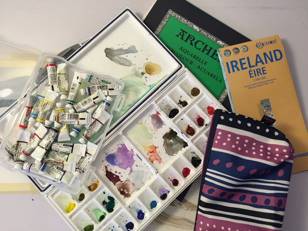 The essential travel items for a watercolorist...