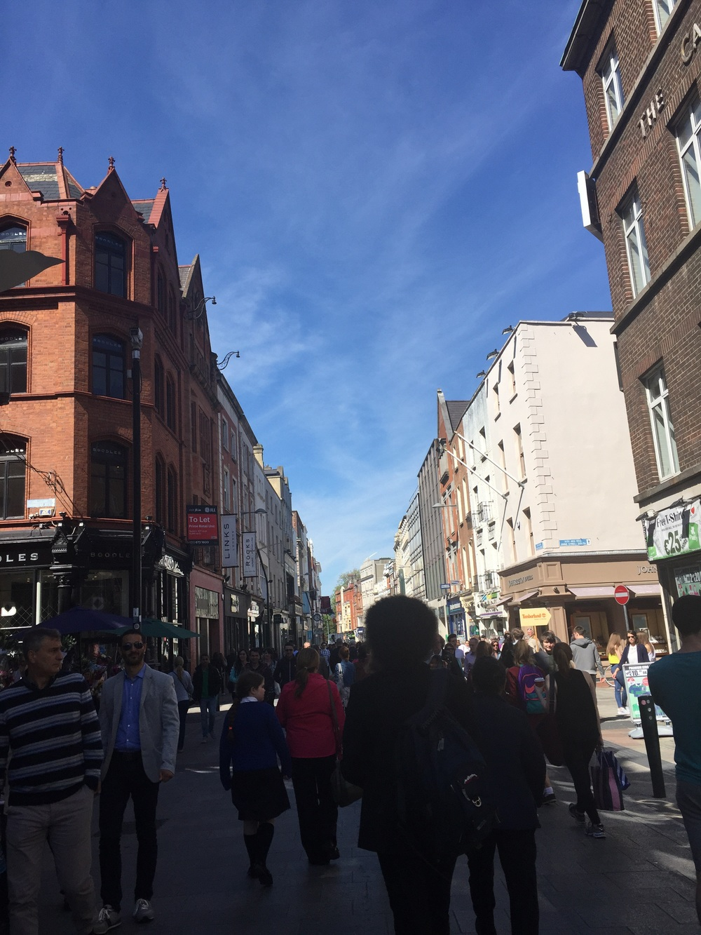 The always busy Grafton Street, much like New York's Madison Avenue with the high end shops and stores.