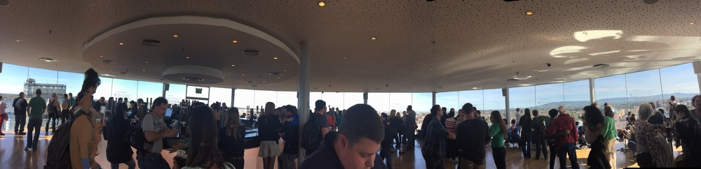 Panorama of the Gravity Bar, beautiful views with beautifully poured Guinness!