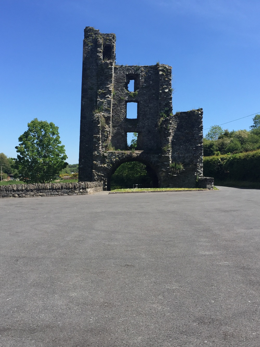 Parking lot at Mellifont Abbey...Abbey ruin in the back...