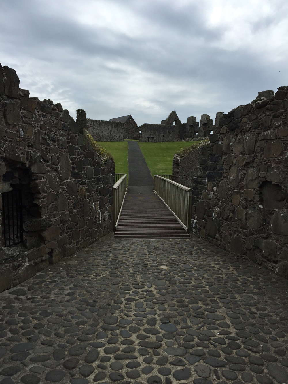 Bridge, looking back towards the keep and stables.