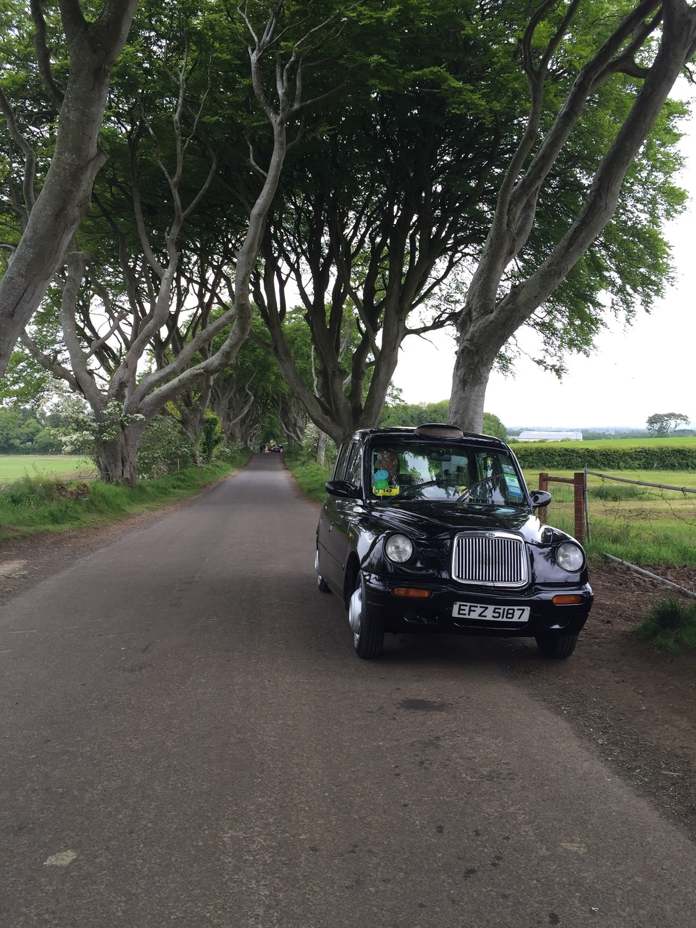 Our taxi against the Dark Hedges.