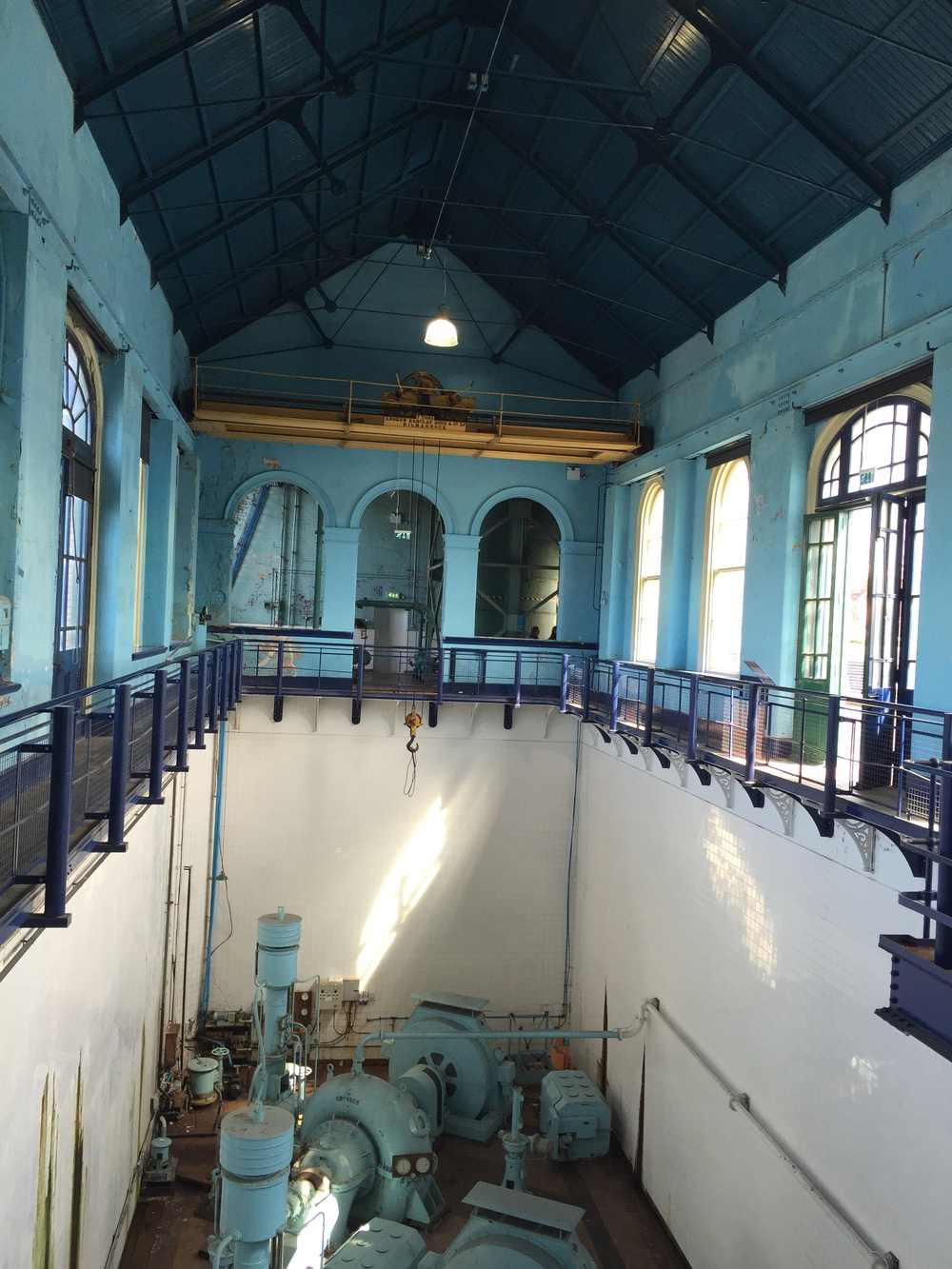 This pump house once operated Titanic's dry dock, where it was floated down the river empty and then finished on the inside. This opened the huge hate that allowed water to flow inside the dock to get the ship in place, then it drained and pumped the water out.