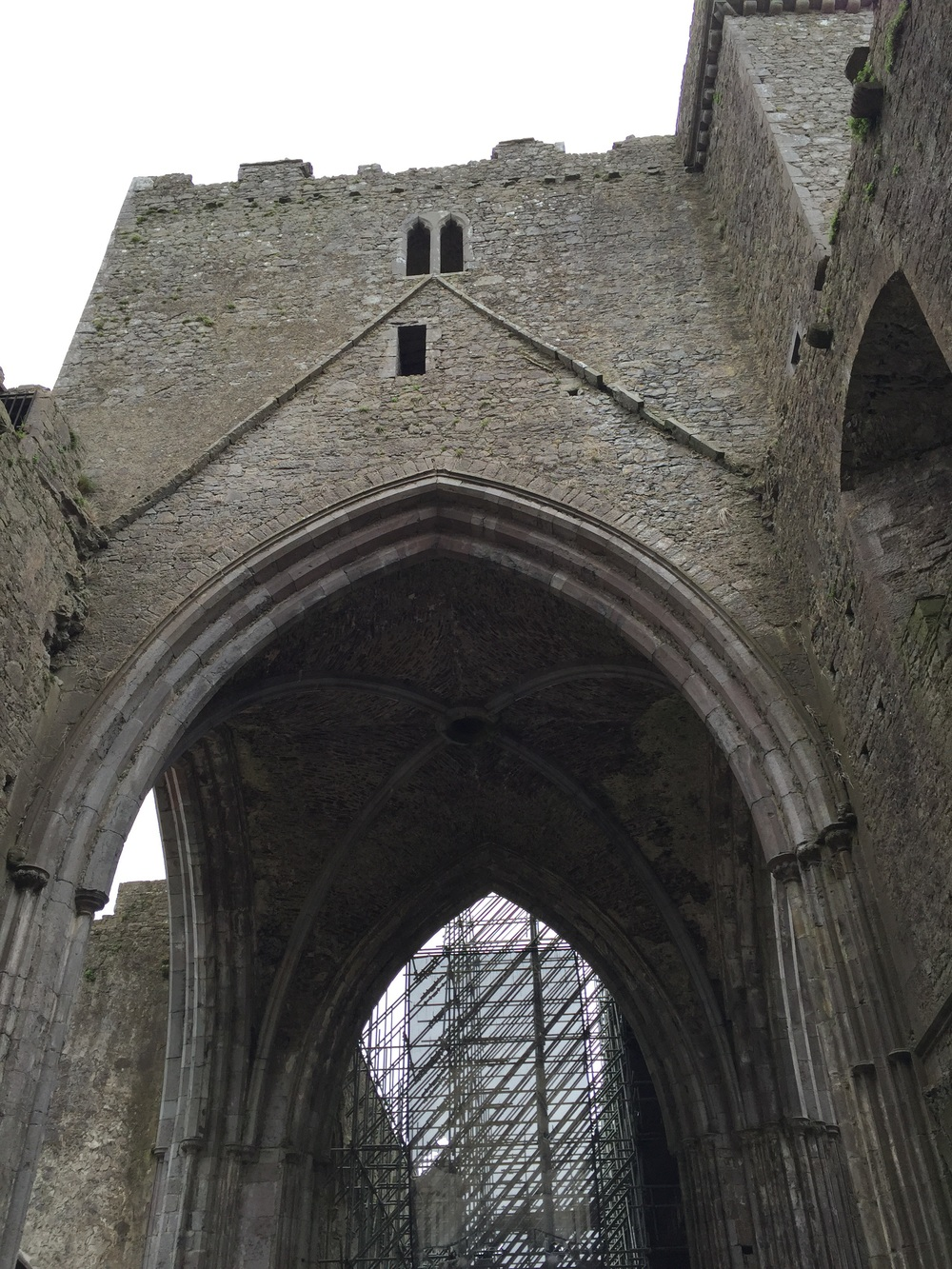 You can see the scaffolding through the archway...