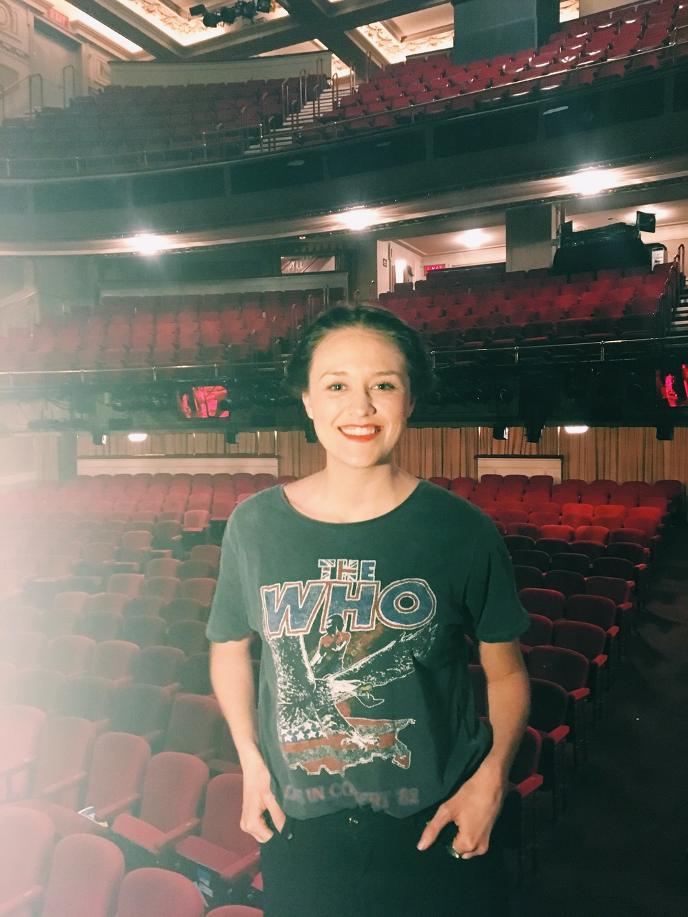 Maddie Shea Baldwin on the Cort Theater's stage
