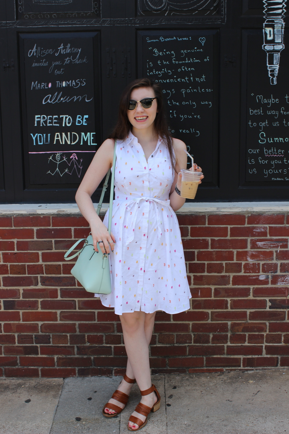 glasses: Ray-Ban, dress: Anthropologie, shoes: Madewell, bag: Kate Spade