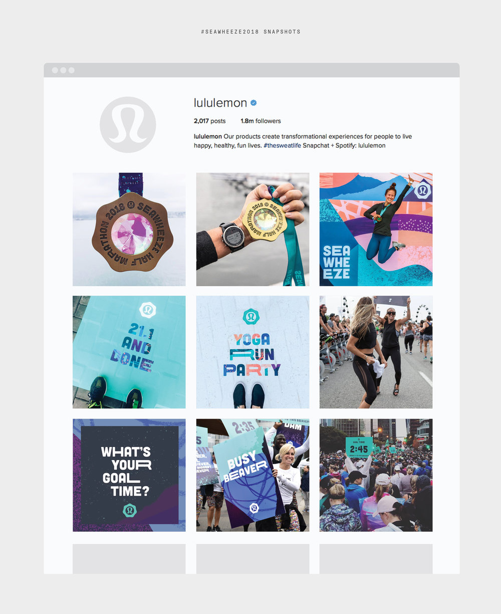 Lululemon SeaWheeze 2018 Half Marathon Branding: #seawheeze social media content storytelling on instagram showing event experience.