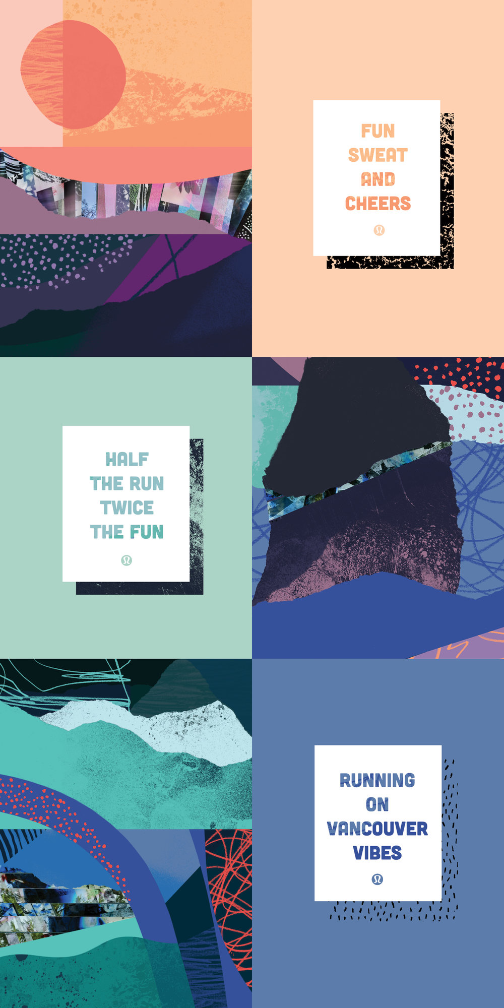 Mood board showcasing illustration, typography, colour palette, and copywriting working together.