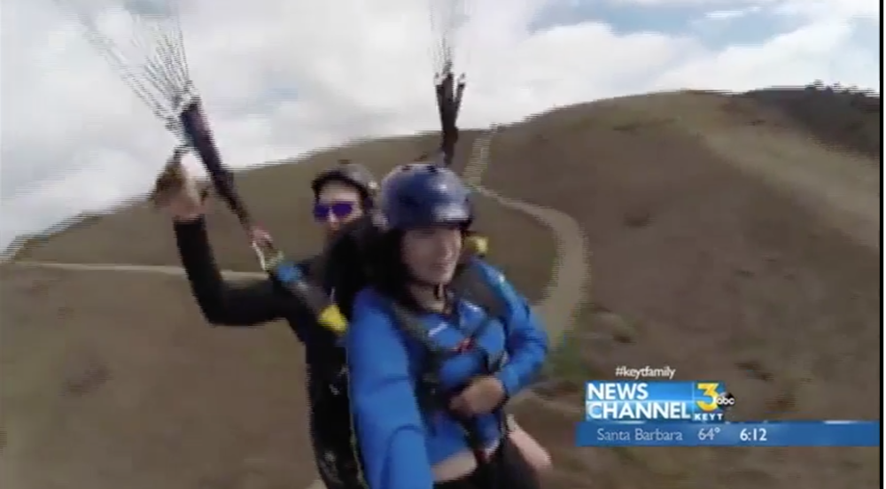 Cormac O'Brien paragliding with Vicky Nguyen via  News Channel 3 KEYT