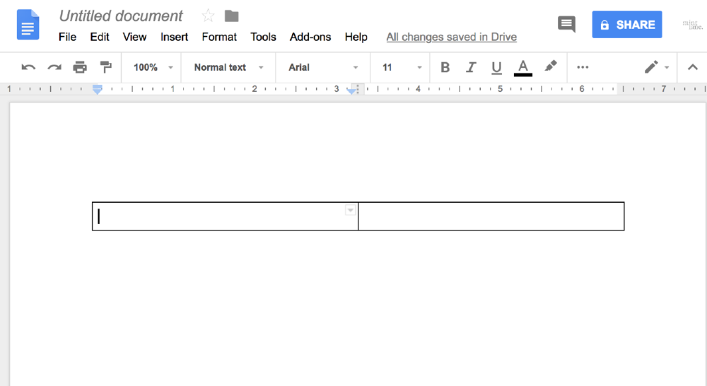 1. Create a table in a blank Google doc - Create a table in a Google Doc with 1 row and 2 columns.   You will do this by clicking Insert > Table > select 2 squares horizontally.