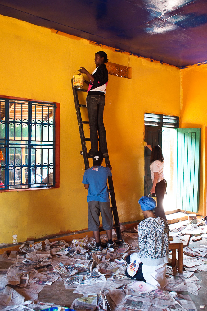 William Morris Students painting the Kabale Arts Centre