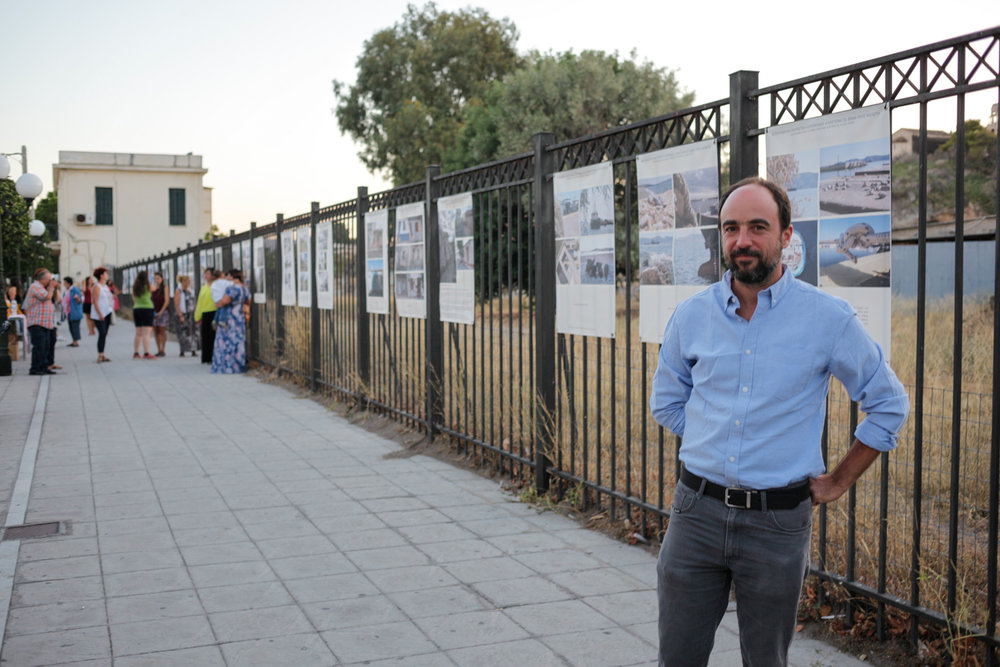 Jeff Vanderpool at the 2017 exhibition held outside the archaeology site of Eleusis.  Photo: Joanna Vasdeki