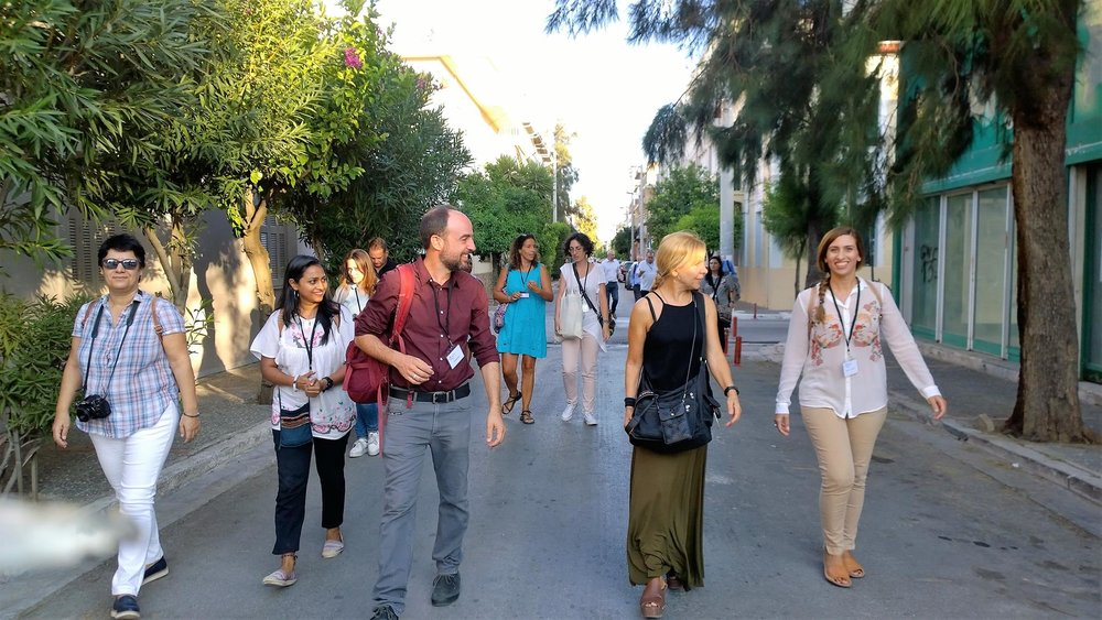 """Art walk"" led by Jeff Vanderpool during the  4th Heritage Management Conference in Eleusis."