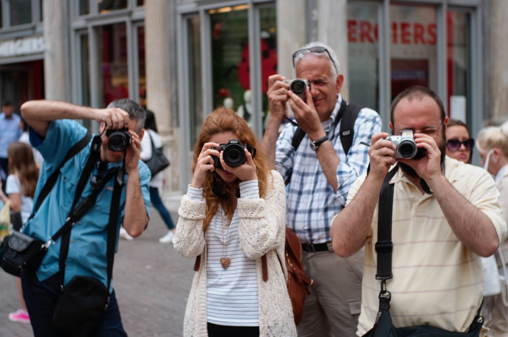 Photographing in central Athens.